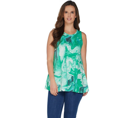 LOGO by Lori Goldstein Printed Knit Swing Tank with On-Seam Pockets