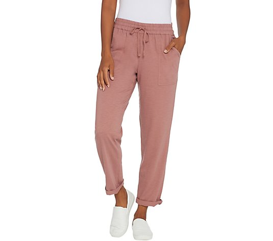 LOGO by Lori Goldstein Cotton Slub Pull-On Pant with Drawstring