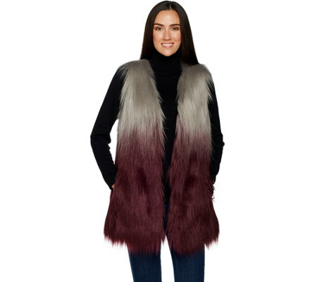 """As Is"" Lisa Rinna Collection Ombre Faux Fur Vest"