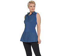 Kathleen Kirkwood Dictra-Ease Chambray Shirttail Top - A311148