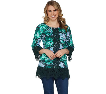 """As Is"" Isaac Mizrahi Live! Printed Tunic with Lace Details"