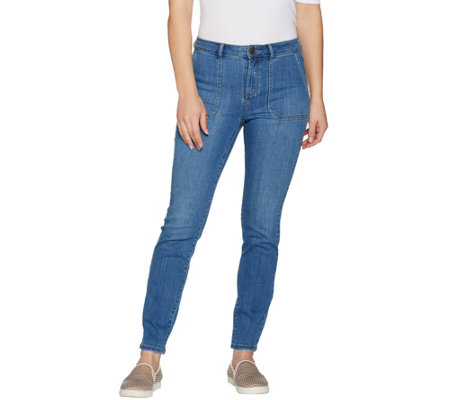 """As Is"" LOGO by Lori Goldstein Regular Skinny Leg Ankle Jeans with Pockets"