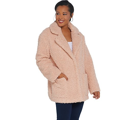Martha Stewart Curly Faux Fur Coat with Pockets