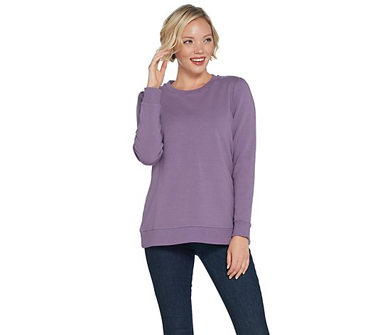 Denim & Co. Brush Back Terry Long-Sleeve Pullover Top