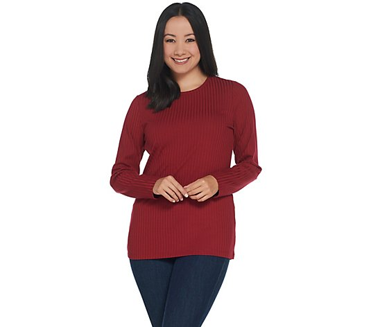 Denim & Co. Essentials Crew-Neck Long-Sleeve Rib Knit Top