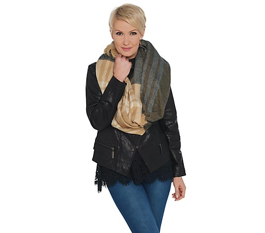 Isaac Mizrahi Live! Color-Block Plaid Blanket Scarf