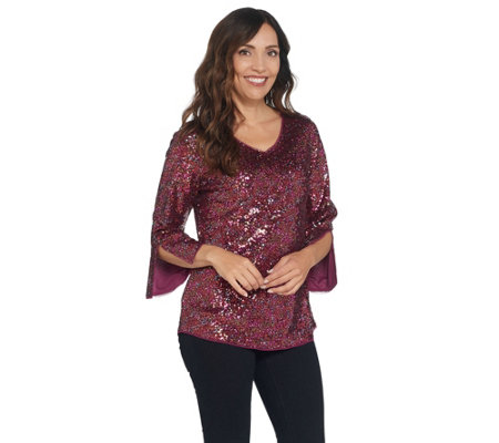 Isaac Mizrahi Live! V-Neck Sequin Top with Side Slit Sleeve Detail