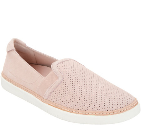 Vionic Perforated Suede Slip Ons Malina