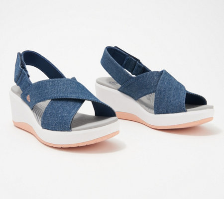 CLOUDSTEPPERS by Clarks Cross-Strap Wedges - Step Cali Cove