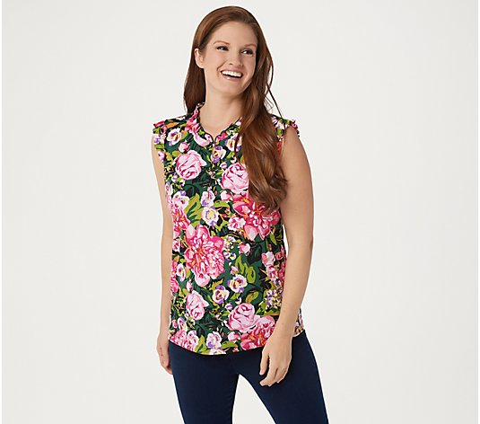 Susan Graver Printed Liquid Knit Sleeveless Henley Top