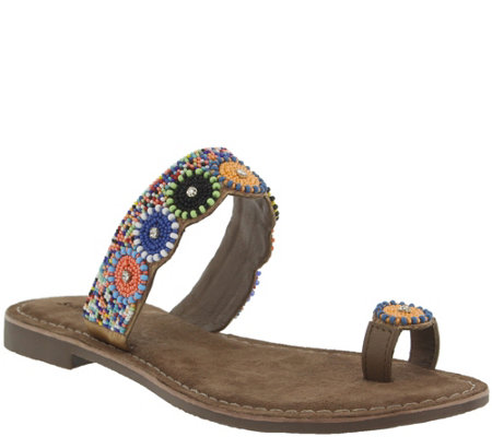 Azura by Spring Step Leather Embellished Sandals - Glint