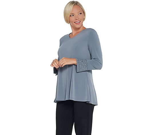"""As Is"" Susan Graver Artisan Liquid Knit Bracelet-Sleeve Tunic"