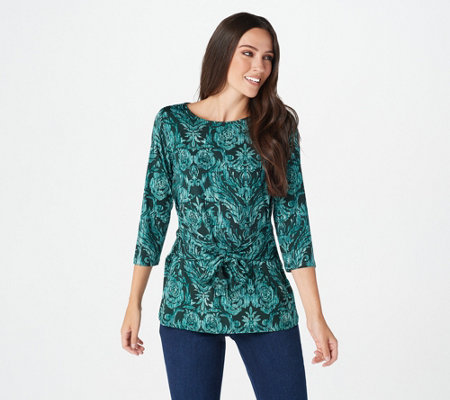 Belle by Kim Gravel Tie Front Print Knit Top