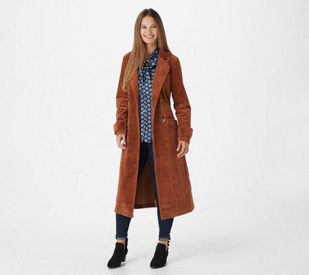 good factory authentic replicas Laurie Felt Long Corduroy Trench Coat — QVC.com