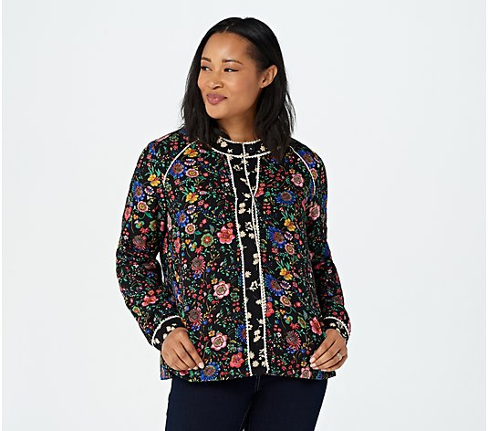 LOGO Lavish by Lori Goldstein Mixed Print Woven Jacket with Picot Trim