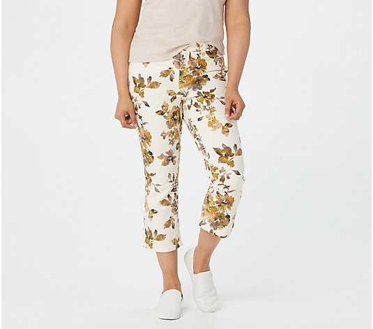 Denim & Co. Floral Printed Crop Kick Flare Jeans