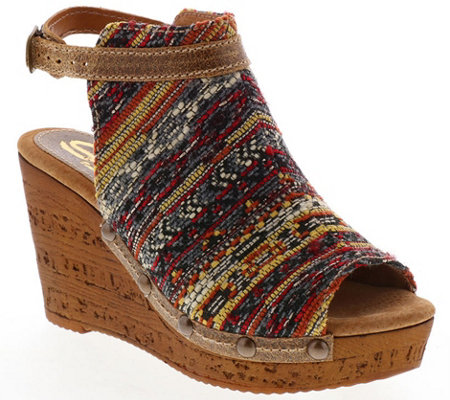 Sbicca Fabric Wedge Sandals - Nessa