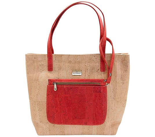 Bent & Bree Cork Tote w/ Removable Clutch - Gina
