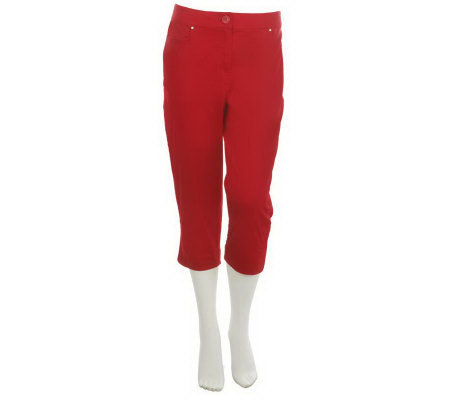 Susan Graver Cotton Sateen Capri Pants with Pockets & Side Slits