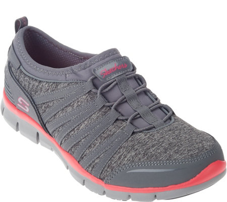 Skechers Heathered Mesh Bungee Slip-on Sneakers - Shake It Off
