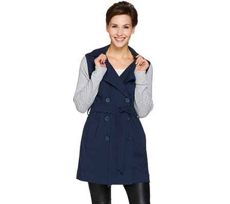 Lisa Rinna Collection Trench Coat with Knit Sleeves