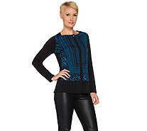 Susan Graver Printed Liquid Knit Top with Faux Leather Trim - A279749