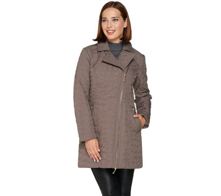 Dennis Basso Quilted Moto Style Coat with Faux Leather Trim