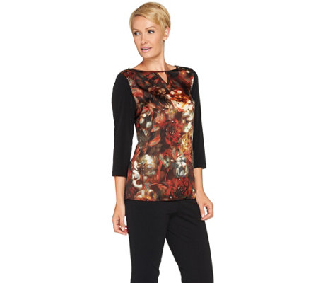 Susan Graver Woven Front 3/4 Sleeve Top w/ Liquid Knit Back