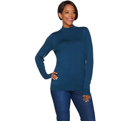 Denim & Co. Essentials Mock Neck Sweater with Seaming Details