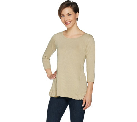 LOGO by Lori Goldstein Slub Knit Top with Tiered Ruffle Detail