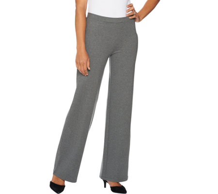 H by Halston Petite Pull-On VIP Ponte Wide Leg Pants