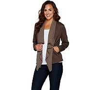 Lisa Rinna Collection Rib Knit Drape Front Jacket - A295849