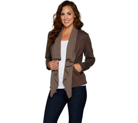 Lisa Rinna Collection Rib Knit Drape Front Jacket