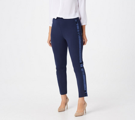 Joan Rivers Petite Joan's Signature Ankle Pants w/ Sequin Strip