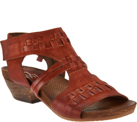 """As Is"" Miz Mooz Leather Woven Detail Sandals - Calico"