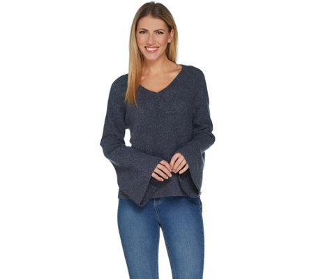 Peace Love World V-Neck Bell Sleeve Sweater