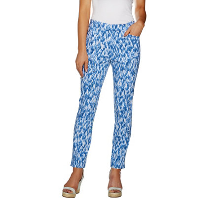 """As Is"" Susan Graver Printed Uptown Stretch Pull-On Ankle Pants"