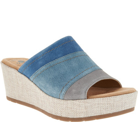 Earth Origins Suede Wedge Slip On Sandals - Myra