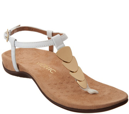 Vionic Embellished Leather T-Strap Sandals - Miami