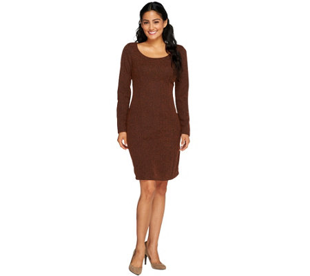 """As Is"" Isaac Mizrahi Live! Knit Tweed Dress with Seaming"