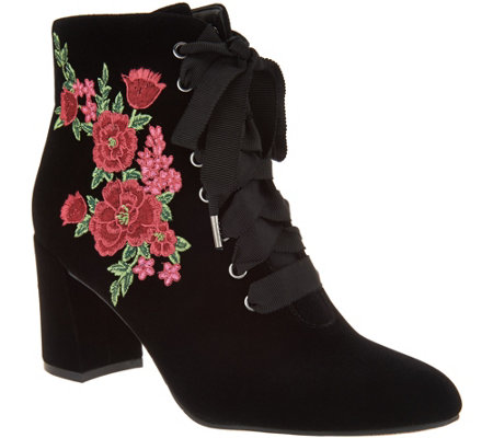 """As Is"" Isaac Mizrahi Live! Velvet Floral Embroidered Lace-up Booties"