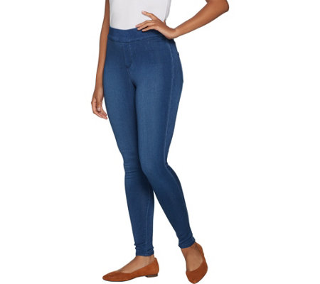 """As Is"" Denim & Co. Distressed Pull-On Stretch Denim Leggings"