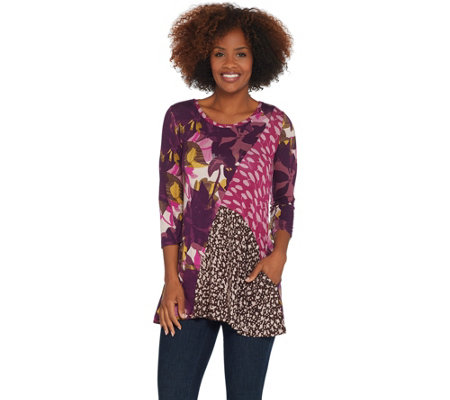 LOGO by Lori Goldstein Print Blocked 3/4 Sleeve Knit Top w/ Pockets