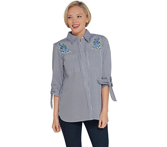 Martha Stewart Striped Stretch Poplin Blouse with Embroidery