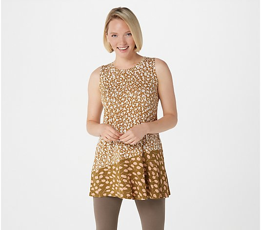 LOGO Layers by Lori Goldstein Printed Knit Tank with Asymmetric Seam