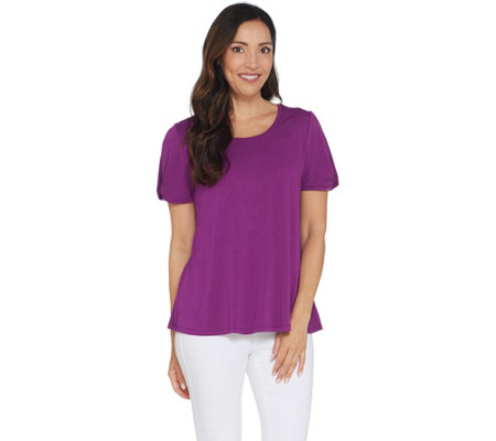 H By Halston Knit Crepe Scoop Neck Top With Twist Sleeve Detail