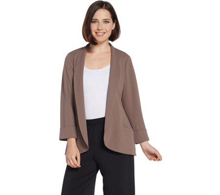 H by Halston Knit Crepe 3/4-Sleeve Open Front Jacket