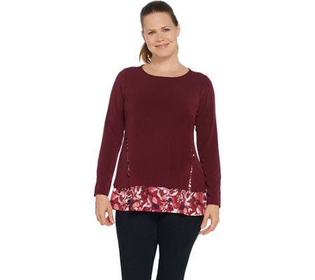 Susan Graver Solid & Printed Textured Liquid Knit Top with Button Trim