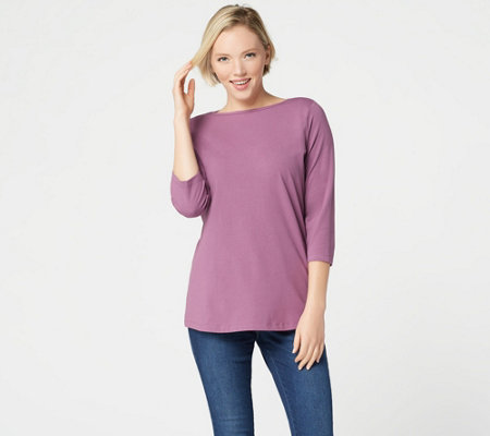 Denim & Co. Essentials Perfect Jersey Boat-Neck 3/4-Sleeve Top