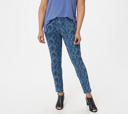 H By Halston Regular Premier Denim Snake Printed Ankle Jeans